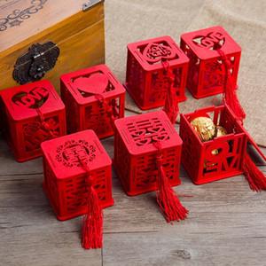 Çin tarzı vintage yenilik kırmızı kare ahşap aşk düğün şeker kutuları Hediye parti şeker tedarik LX0434 şekeri