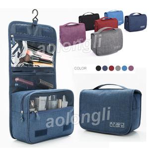 2018 Bolsa de aseo colgante bolsa de viaje organizador bolsa de maquillaje bolsas de cosméticos con caja gancho colgante bolsa de baño impermeable de gran capacidad