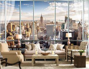 Foto Wallpaper Custom 3D Stereo Ultime fuori dalla finestra New York City Landscape Adesivo per ufficio Decorazioni per soggiorno