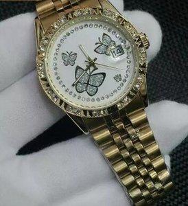 최고 나비 다이아몬드 daydate 디자이너는 남자 및 여자 날짜에있는 새로운 유행 시계 상표 시계 제품을 여자를위한 새로운 강철 시계 석영 시계 본다
