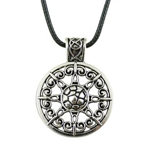 WYSIWYG 5 Pieces Leather Chain Necklaces Pendants Choker Collar Male Necklace Fashion Mandala Pattern 46x35mm N6-B10519