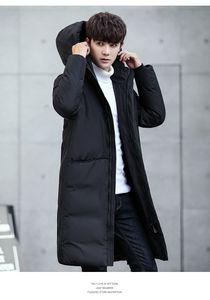 Erkek Kış Sıcak Aşağı Kalınlaşmak Palto Moda Katı Renk Kapşonlu İnce Aşağı Palto Erkek Uzun Giyim Aşağı Parkas Erkek Konfeksiyon mont