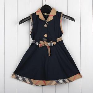 2018 Vestidos sin mangas para niñas de los niños Cinturones de encaje A juego con el color de la tela escocesa Linda personalidad Con estilo Cómodo