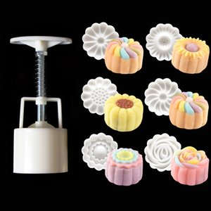 50g 3D Rose Blumen Mooncake Mould 1 Barrel + 6 Stempel Set Hand Druck Fondant Moon Kuchenform DIY Backen Zubehör