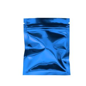 100 unids / lote 7.5 * 10 cm Azul Brillante Mylar Foil Packing Heat Bag Zell Lock Aluminium Foil Heat Seal Empaque de Almacenamiento de Calidad Alimentaria