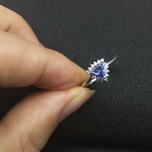 LANZYO 925 Ayar Gümüş mavi tanzanite yüzükler trendy doğal takı basit tarzı açık yeni güzel toptan j050501agts