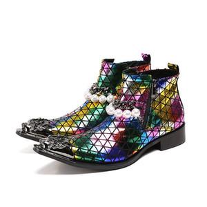 Western Cowboy Rock Boots Hombres punta de hierro Color del dedo del pie POP Night Club, Stage Botas de hombre Zip Beads Party Boots Hombres Botas