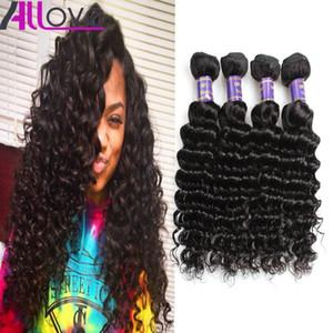 Оптовые дешевые Бразильские волосы Wefts 4Bundles Необработанные Перуанские Индийские Малайзийские Глубокие Волны Девственные Волосы Наращивания Волос Бесплатная Доставка