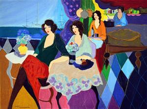 Itzchak Tarkay Femmes Café Portraits Art Art Sur La Terrasse II, Peint À La Main / HD Print Art Peinture à L'huile Sur Toile.Multi Taille Personnalisée / Cadre I20
