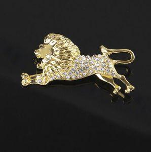 Lovely Gold Tone Animal Lion Spilla Cristallo trasparente strass Corsage Pins Uomo Suit Shirt Accessorio Fashion Jewelry