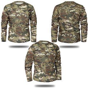 Марка Осень Весна Мужчины с длинным рукавом Tactical Камуфляж T -Shirt Камиза Masculina Быстрый Military Army Dry Shirt Drop Shipping