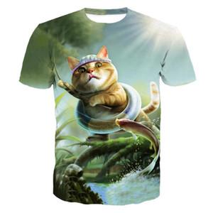SOSHIRL 3D Cool Cat Fish Print Funny Short Sleeve T-Shirt Kawaii Cute Animal Tops Summer Women men's Tees 2018 Camisa Masculina