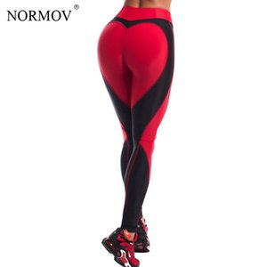 NORMOV Fashion Heart Leggings Women Fitness Push Up Legging Activewear Patchwork Jeggings Women's Leggings Sportswear S-L