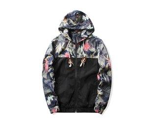 Asstseries floreale Moda Giacche Uomo di Hip Hop Slim Fit Fiori Pilot Bomber cappotto degli uomini con cappuccio Giacche Plus Size 5XL
