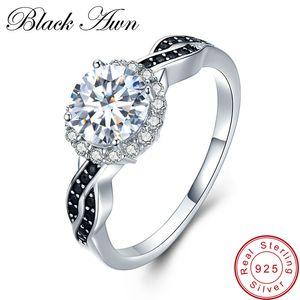 [Black AWN] edlen Schmuck 2.3Ct 100% echte 3g 925 Sterling Silber Reihe schwarz Spinell Stein Verlobungsringe für Frauen Bague C036 S18101002