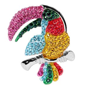 Hermoso Esmalte Completo Rhinestone Crystal Colorful Bird Broche Pins Parrot Collar Solapa Pin Clips Juguetes Vestido Brocha