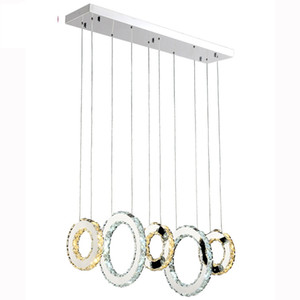 Luxury Contemporary LED Crystal Pendant Lights K9 Crystal Chandeliers Lighting With 3/5 Crystal Circulars For Living Room Restaurant