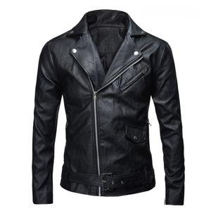 2016 PU Leather Jacket Men Basic Coat Wool Leather Men's Jackets Slim Motorcycle Jackets Trench Parkas Plus Size XXXL