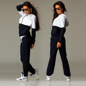 Dame Liva Girl New Casual Trainingsanzug Frauen 2 Stück Set Top und Hosen Sexy Striped Ladies Freizeit Heißer Verkauf Zwei Stücke Pullover Anzüge S-XL