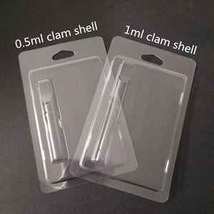 Vendita dettaglio Clamshell Miglior 0,5 ml vaporizzatore cartuccia imballaggi in plastica trasparente a conchiglia imballaggio Vape cig e per la cartuccia di penna Vape 0,5 ml
