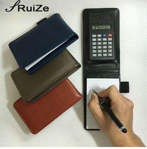 RuiZe multifuncional creativo pequeño cuaderno A7 portátil de bolsillo bloc de notas bloc de notas cuaderno de cuero con calculadora