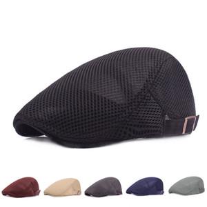 FEDEX Uomini Beret tappo Ivy Cap mesh traspirante cappello Cabbie piatto schiocco cappelli bei tappi solidi a muro per gli uomini