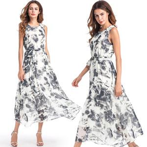 Boho vestido con estampado de moda sin mangas gasa Beach Print Dress más el tamaño de ropa bohemia vestidos de moda para damas cumpleaños regalos