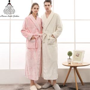 Albornoz mujer algodón Winte Robe Bathrobe Bathrobe Plus Talla Bata Robe Invierno Largos Vestidos para Mujeres / Hombres