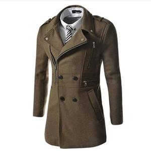 무료 배송 2018 Men Outwear Woolen Coat 남성용 패션 코트 Multi Zipper Design Woolen