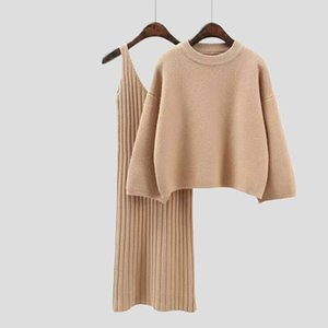Two Piece Set Knit Dress Winter Sweater Suit for Women Set Three Quarter Pullover Wool Sweater Elastic Cashmere Suit Female