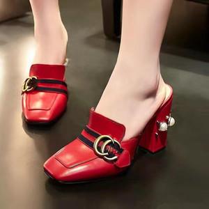 레이디 드레스 펌프 여름 로퍼 슬리퍼 여성 신발 두꺼운 하이힐 캐주얼 펌프는 패션 플러스 사이즈 정품 가죽 여성 신발을 리벳