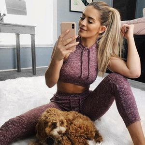 No transparente Thick Knitting Sporting Women Sets Cordón Tank Tops y Slim Leggings 2 piezas Set Fitness Chándales