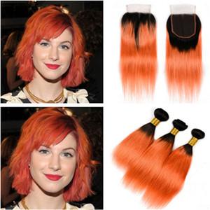 Silky Straight # 1B / Orange Ombre 4x4 Lace closure con paquetes de armadura Dark Root Ombre Orange Virgin Hair Peru 3 Ofertas de paquete con cierre
