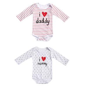 Costume Baby Baby Clothes meia manga recém-nascido Carta Cotton Eu amo a mamã Papai Jumpsuit Romper Roupa