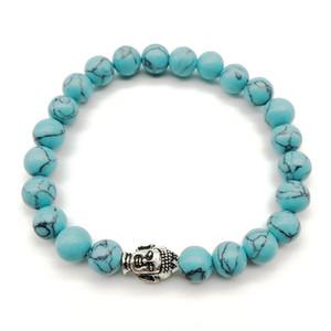 SN1260 nuovo arrivo 2018 braccialetto del buddha alla moda pietra naturale blu turchese braccialetto yoga mala equilibrio gioielli all'ingrosso