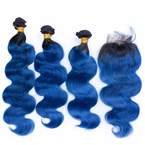 Hot Sale 1B Ocean Blue Body Wave Ombre Brazilian Virgin Human Hair Weaves 3 Bundles With 4x4 Bleached Knots Lace Frontal Closure