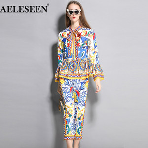 AELESEEN Fashion Runway 2 Piece Set 2018 New porcelain Print Twinset Bow Flower Sleeve Blusa Top + Calf-Length Pencil Pants Suit