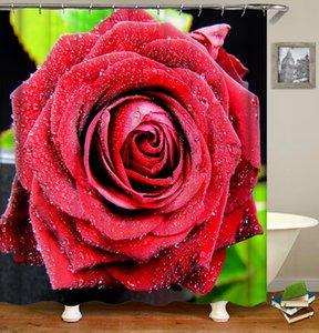 Kundenspezifische Wasserdicht Mehltau resistent Kreative Schwarz Weiß Rot Blumen Rosen Digital Printing Badezimmer Dusche Fenster Vorhang mit Haken