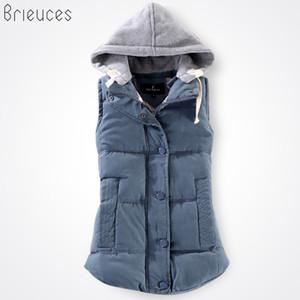Brieuces outono e inverno colete mulheres 2017 colete de algodão com um capuz de algodão patchwork feminino reversível jaqueta de inverno mulheres