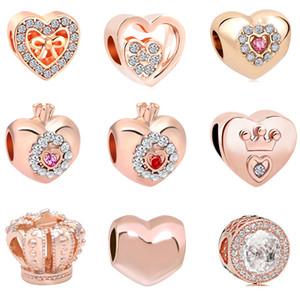 2018 nouvelle livraison gratuite européenne MOQ20pcs rose or coeur couronne princesse diy bijoux marquage grand trou perle fit pandora bracelet bracelet D028