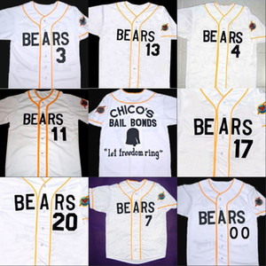 Malas noticias BEARS Movie Jersey Boton Blanco 100% cosido Custom Baseball Jerseys Any Name Number Envío gratis venta al por mayor