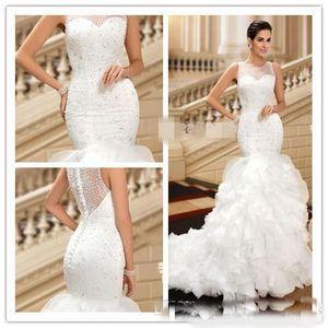 Lüks Boncuklu SequinsWedding Elbiseler Custom Made Gerçek Pic Gelinlik Jewel Sleeveles Ruffled Buttom Düğünler Önlük Mahkemesi Tren özel yapılmış