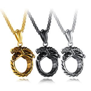 Drachen Stil Punk Männer Anhänger Halskette 316L Stahl Gliederkette Gold / Schwarz / Weiß Schmuck Halsketten Für Männer Geschenk GX1383