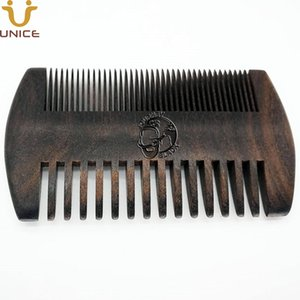 50pcs lot Good Quality Private Label Carved Your LOGO Customized Black Wood Men Beard Comb Fine & Teeth Coarse Ebony Blackwood Hair Comb