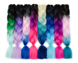 Kanekalon Ombre Jumbo Braiding Hai 100g / 팩 합성 2 톤 고온 섬유 Kanekalon Jumbo Braid Hair Extensions