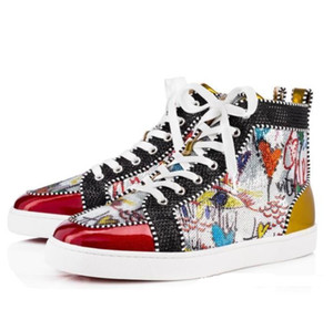 2018 New Season Red Bottom Sneakers Homme Chaussures Luxe Print Silver Pik Pik No Limit RARE Clous et strass graffiti A010