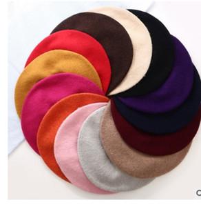 رخيصة موضة جديدة النساء الصوف بلون القبعات أنثى بونيه قبعات الشتاء جميع المتطابقة الدافئة المشي قبعة كاب 20 اللون
