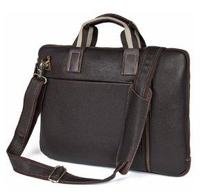 """Erkek Iş handBag Litchi Hakiki Deri Çanta 15.6 """"dizüstü Bilgisayar Çantası Evrak Omuz Messenger çanta"""