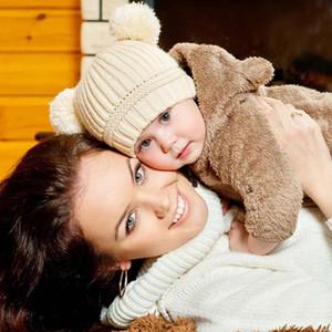 Çift Pom Poms Topu Örme Bebek Kapaklar Erkek Kız Toddler Tığ Beanie Hairball Kulak Bebek Şapka Çocuklar Için Sevimli Çocuk Kış Şapka Caps