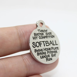 새로운 도착 12pcs - 22mm 소프트볼 매력 고품질 합금 도금 백색 k Softball 매력 낱말 콜라주 매력 pendan diy 보석 만들기를 위해